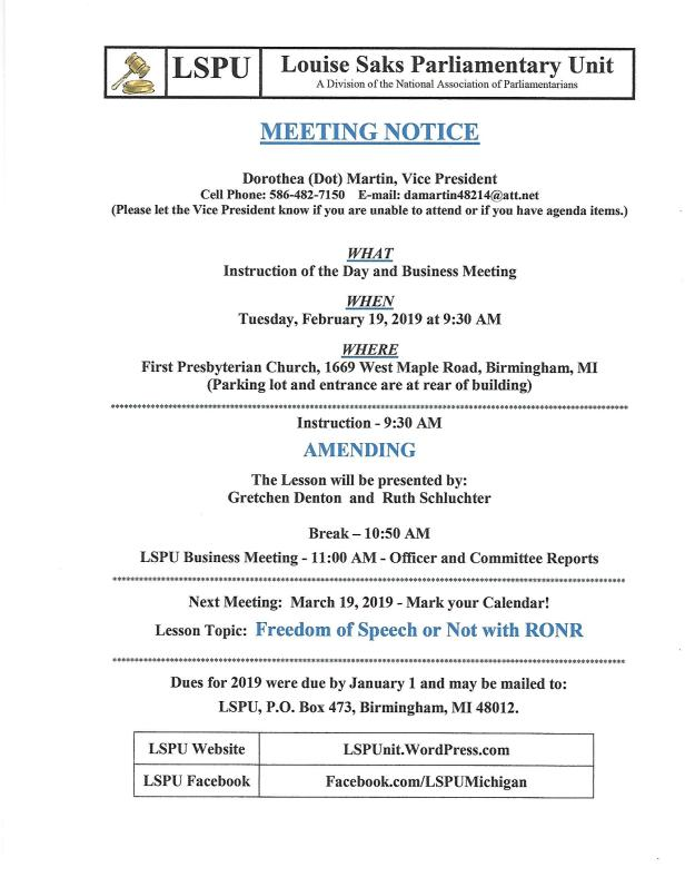 Feb 2019 Meeting Notice